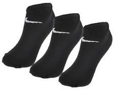 2 Pair Nike No Show Ankle Socks Black Mens Womens Performance Cotton UK 4-8