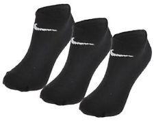2 Pair Nike No Show Ankle Socks Black Mens Womens Performance Cotton UK 4-8