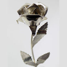 Vintage Solid Silver Italian Made LARGE Rose Figurine Stamped Decoration