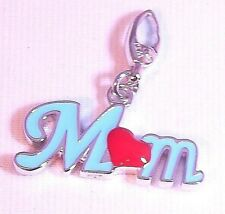 """Sterling Silver Blue Enamel With Red Heart """"Mom"""" Charm Trigger Clasp Free Ship!!"""