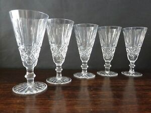 """Waterford Crystal  Tramore Cut Champagne Glasses x5, Signed h15,8cm (61/4"""")"""