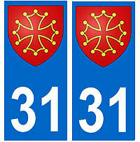 Autocollant 31 croix occitane occitan plaque immatriculation auto haute garonne