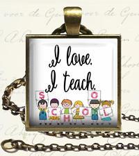 I Love I Teach School Glass Top Key Chain Pendant Necklace Handmade