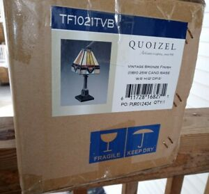 "Quoizel Tiffany Vintage Bronze 12""-Inch One-Light Table Lamp BRAND NEW"