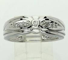 Mens diamond wedding band ring 14K white gold 7 round brilliants .15CT 7.5 MM!!