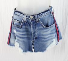 McGuire Women's Medium Wash Denim Red Navy Side Stripe Shorts Size 25