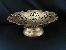 Vtg Pierced Solid Brass Bowl Ornate Floral Cut-Out Pattern, Ornately Edged, 8�