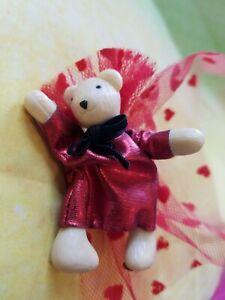 """Vanderbear tiny Bear Red  NABCO  wood head feet & head 3"""" + cape"""