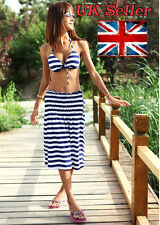 Sexy Women Swimsuits Three pieces Hot Swimwear Push Up Navy Striped Colour