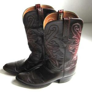 Lucchese Cowboy Western Boots Maroon Red Brown Men's Size 9.5 D