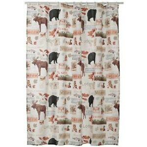 Home Classics Wilderness Fabric Shower Curtain Outdoors Lodge Cabin Theme NEW