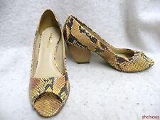 New Andarella Snake Pumps Peep Toe 7M High End Brazilian Maker Wood Heel