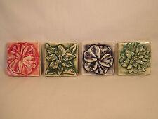 Set Of 4 Ceramic Custom Hand Made Decorative Floral Art Tiles Long Island NY