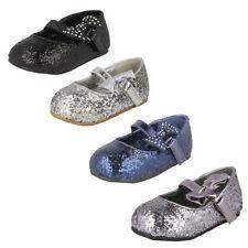 Girls Spot on - Glitter Bow Detail Party Flats Black UK 10 Infant Standard