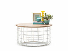 Round Scandinavian Coffee Table 80cm Ash Wood Timber Steel Metal Living Room