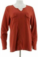 Denim & Co. Perfect Jersey Roll-Tab Long Sleeve Top with Utility Pockets Large L
