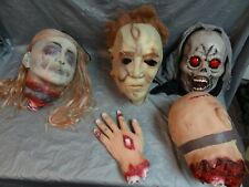 Lot Of Halloween 2 Mask / 2 Heads / 1 Bloody Hand ~
