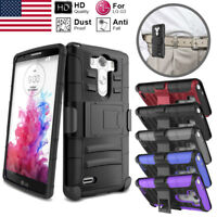 For LG G3/LS990/VS985/D850 Dual Layer Hybrid Case + Belt Clip Holster Kickstand