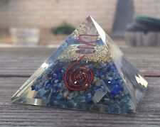 LARGE (50-55mm) LAPIS LAZULI ORGONE GEMSTONE PYRAMID LARGE PYRAMID ORGONITE