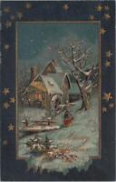 Postcard A Merry Christmas Winter Cottage Snow Farm Scene