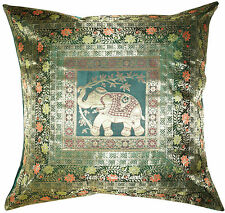 "26""x 26"" Cushion Cover Silk Brocade Euro Sham Pillow Elephant Throw Indian Decor"