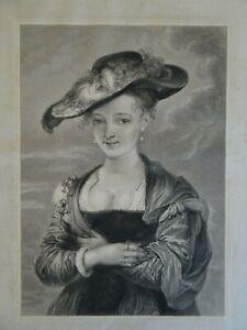 Rubens Antique Engraving,The Straw Hat,Le Chapeau de Paille, Susanna Lunden,1823