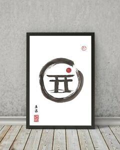JAPANESE style SHINTO TORII print - Decor wall art gift landscape painting zen
