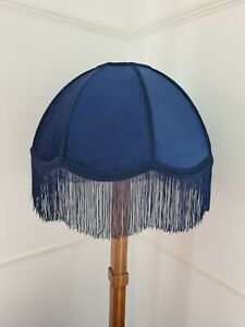 Handmade dome lampshade navy blue velvet fabric for a standard lamp or ceiling