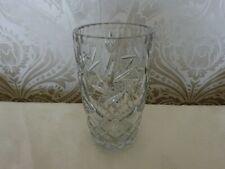 Lead Crystal Cut Glass chunky Bohemia ? Vase Ornament 18cm tall