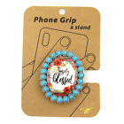 'SIMPLY BLESSED' PHONE GRIP & STAND w/ Western concho Serape flower Turquoise