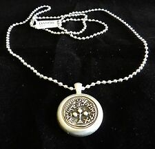 Long Silver 925 Coated Necklace Etched Antique Israel Jewish Roman Coin