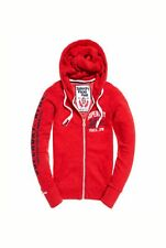 NEW RRP£54.99 WOMENS LARGE SIZE 14 SUPERDRY TRACK & FIELD ZIP HOODIE TOP RED