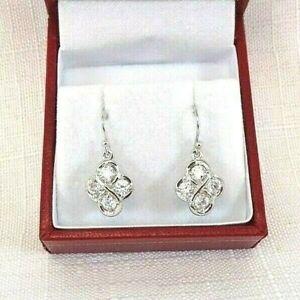 White Cubic Zirconia Sterling Silver Drop/Dangle Shepherds Hook Earrings