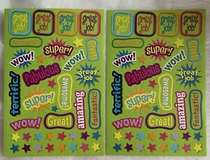 Darice STICKERS 2 sheets 76 REWARD STICKERS Amazing Wow Fantastic Awesome Great