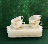 Vtg Lot 4 Fire King Wheat Snack Set Tray Cup Milk Glass