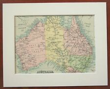 Australia, Continent Map - Antique c.1900 Mounted Colour Map