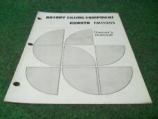 Kubota Fm1100s Rotary Tiller Owners Manual