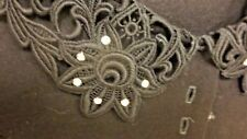 "2-Pc Vintage Lace/Rhinestone Collar Black Blouse & Elastic Waist 22"" Lined Skirt"