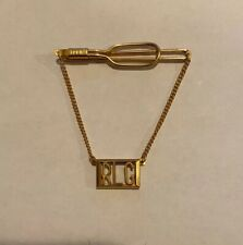Vintage Swank RLG Monogram Tie Bar and Chain Gold Tone