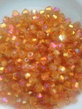 100 Austrian Crystal Glass Bicone Beads-Jewllery Making/Craft -Rose Gold AB- 4mm