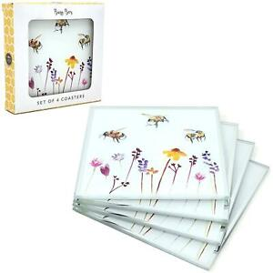 Set of 4 Watercolour Busy Bees Floral Glass Coasters Coffee Table Mats UK