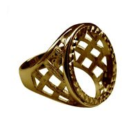 Full Sovereign Ring Mount 9ct Solid Yellow Gold Lattice With Bezel UK Hallmarked