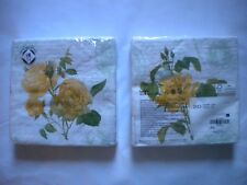 Mesafina Brand Paper Luncheon Napkins 20 count YELLOW ROSES Theme 3 ply