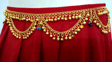 Kuchi Tribal Golden Belt Belly Dance Hip Skirt Wrap Metal Jewelry Bell Gypsy ATS
