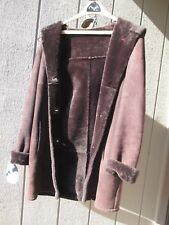 Top Quality Hooded Sheepskin Shearling Brown Lambskin Coat Jacket XS