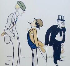 Lithographie originale de Sem, Jockey, Lord Carnavon, lorgnon, caricature