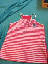 MARKS AND SPENCER GIRLS PINK / WHITE STRIPED ENGLAND VEST TOP AGE 13 - 14