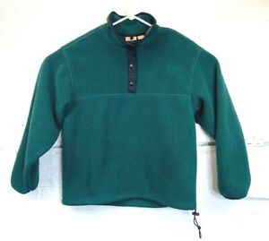 Vintage Womens Woolrich Button Snap Pullover Fleece Forest Green Size Large