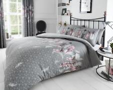 Grey Pink Feathers Duvet Quilt Covers Reversible Bedding Matching Fitted Sheets