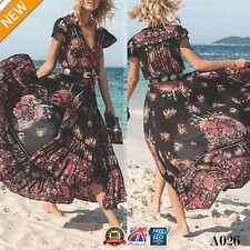 Women Summer Boho Floral V Neck Party Evening Beach Holiday Long Maxi Dress A026